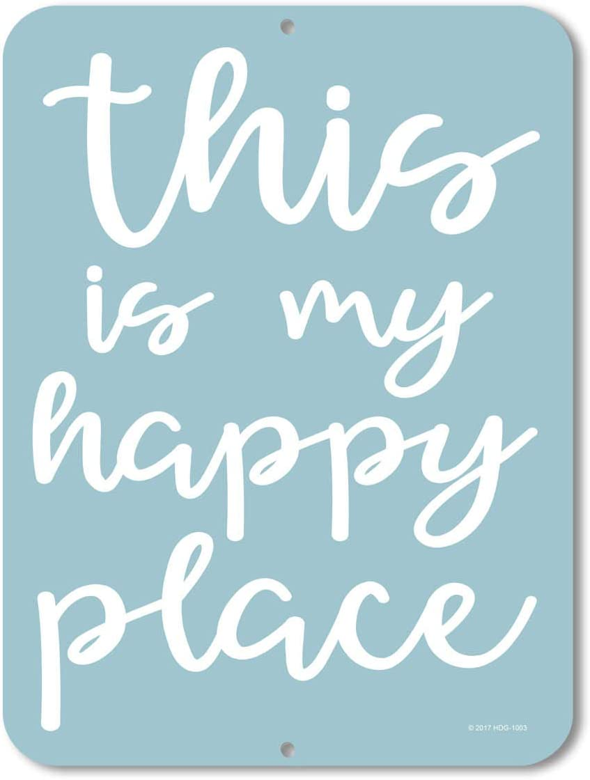 Honey Dew Gifts This is My Happy Place - 9 x 12 inch Metal Aluminum Novelty Sign Decor - Made in The USA