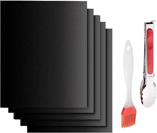 ,Cadeau clip et une brosse Section Epaisse Noir Set de 5 Non adh/ésif r/éutilisables et faciles /à nettoyer,pour fours assist/és//Charbon de bois//Gaz// Grill /électrique//Cuisson Tapis de Cuisson Barbecue