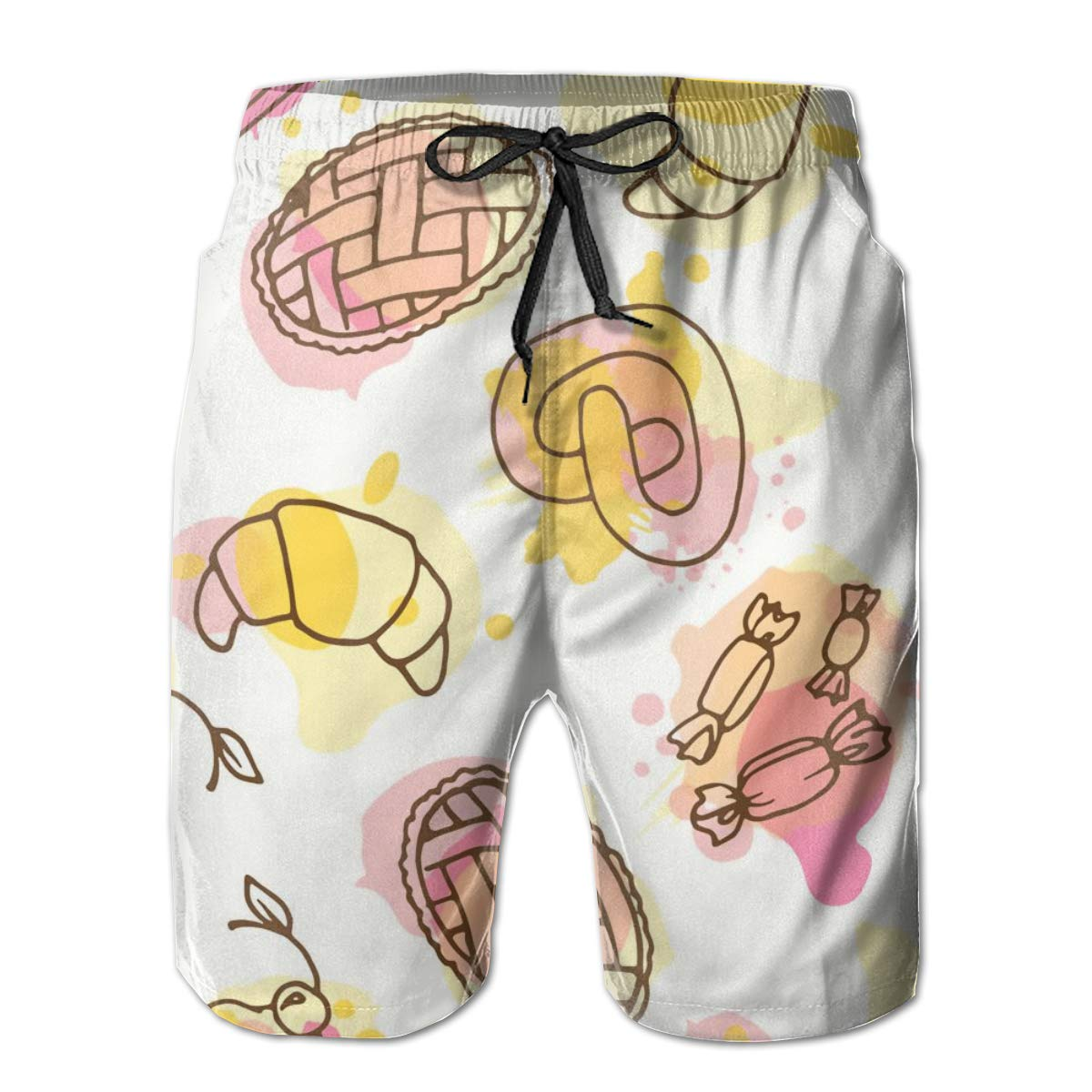 SARA NELL Mens Shorts Fruits Pattern Hand Drawn Quick Dry Swim Trunks Beach Board Shorts White