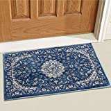 Well Woven Djemila Medallion Blue Vintage Persian Floral Oriental Doormat Rug 2x3 (20'' x 31'' Mat) Neutral Modern Shabby Chic Thick Accent Small Entry