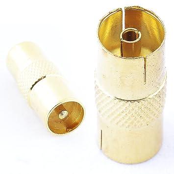 Conector Adaptador Terminal Hembra Cable RF Coaxial Empalme Antena Hembra