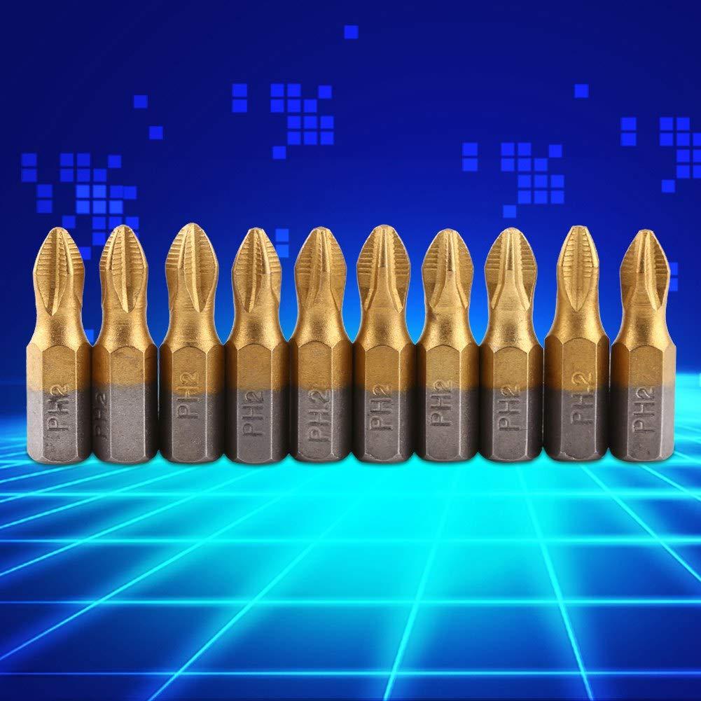 10 pezzi Titanio rivestito 1//4Attacco esagonale 25mm Lunghezza PH2 Puntali cacciavite magnetico antiscivolo S2 Set Punta per cacciavite