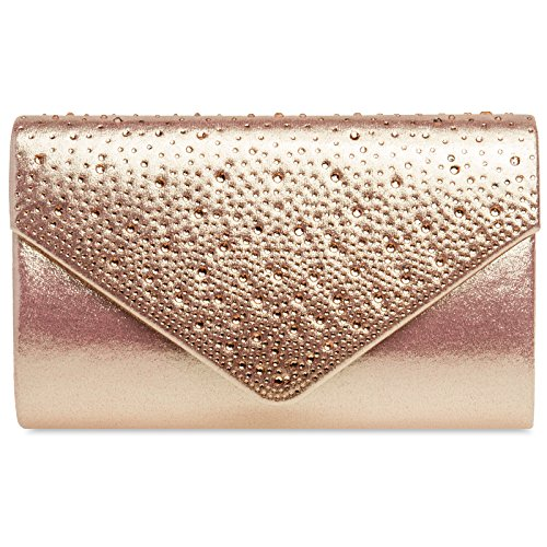 CASPAR TA423 Ladies Envelope Clutch / Elegant Evening Bag with Glitter Rhinestone Rose Gold