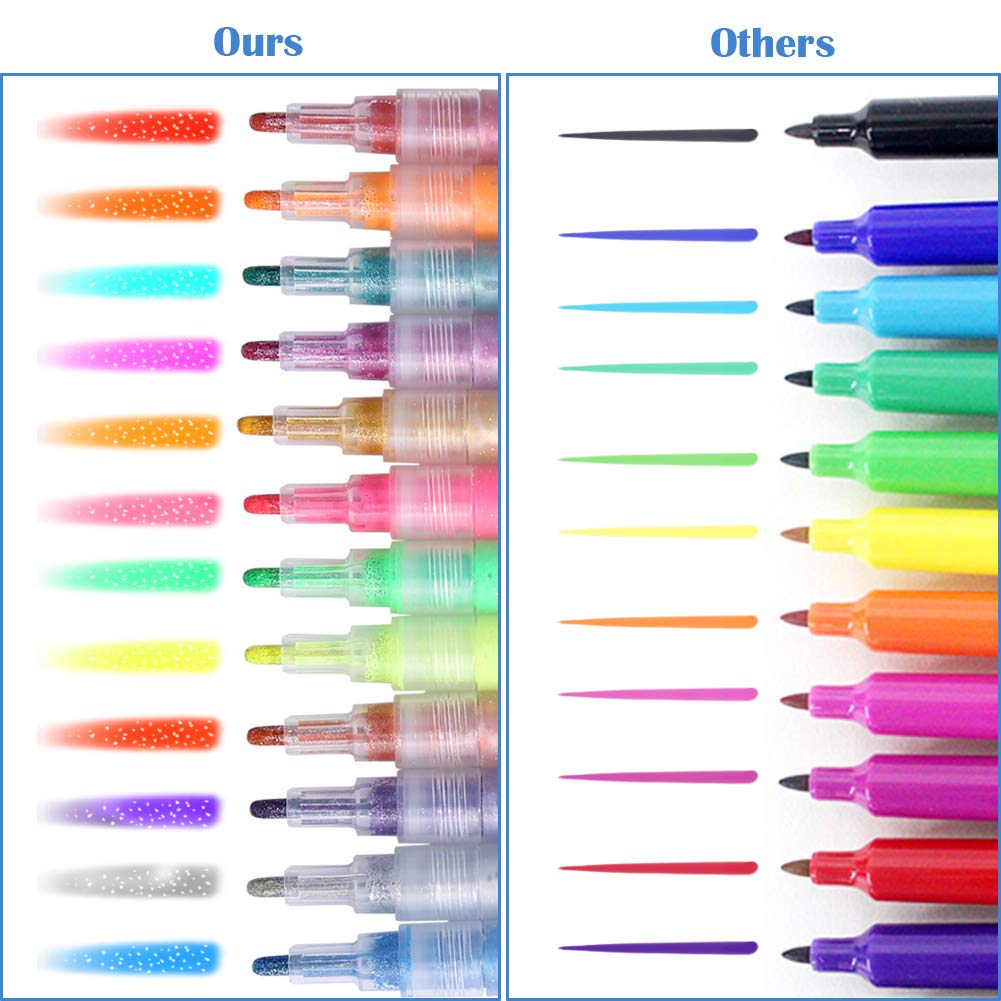 Paint Marker Pens, ARINO Acrylic Paint Pens Colored Paint Pens Art Deco Markers for Drawing, Ceramics, Wood, Stones, Fabric, Glass, Ideal for Christmas Gift DIY Craft Kids, 12 Colors