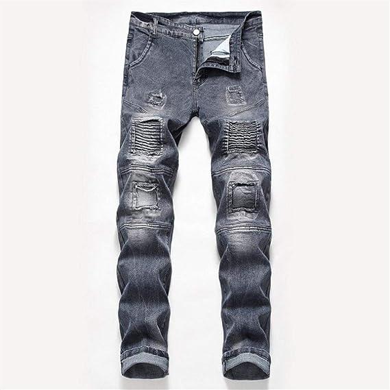 メンズジップワイドパンツ ストレートストレッチ大きいサイズの穴のジーンズのズボン エフェクトライトウォッシュ (Color : Gray, Size : 5XL)