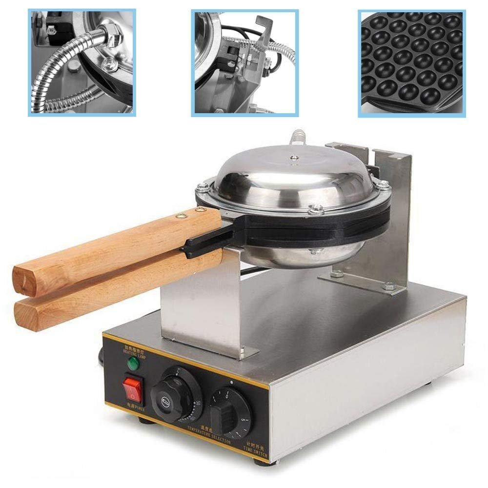 8.9 x 13 x 9.9 Silver Vevor 110V Puffle Waffle Maker Eggettes Bubble Electric Stainless Steel Non Stick Pan Egg Puff Grill Machine