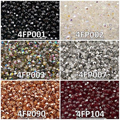 600 Beads 6 Colors Czech Fire-Polished Glass Beads Round 4 mm, Set 431 (4FP001 4FP002 4FP003 4FP007 4FP090 4FP104)