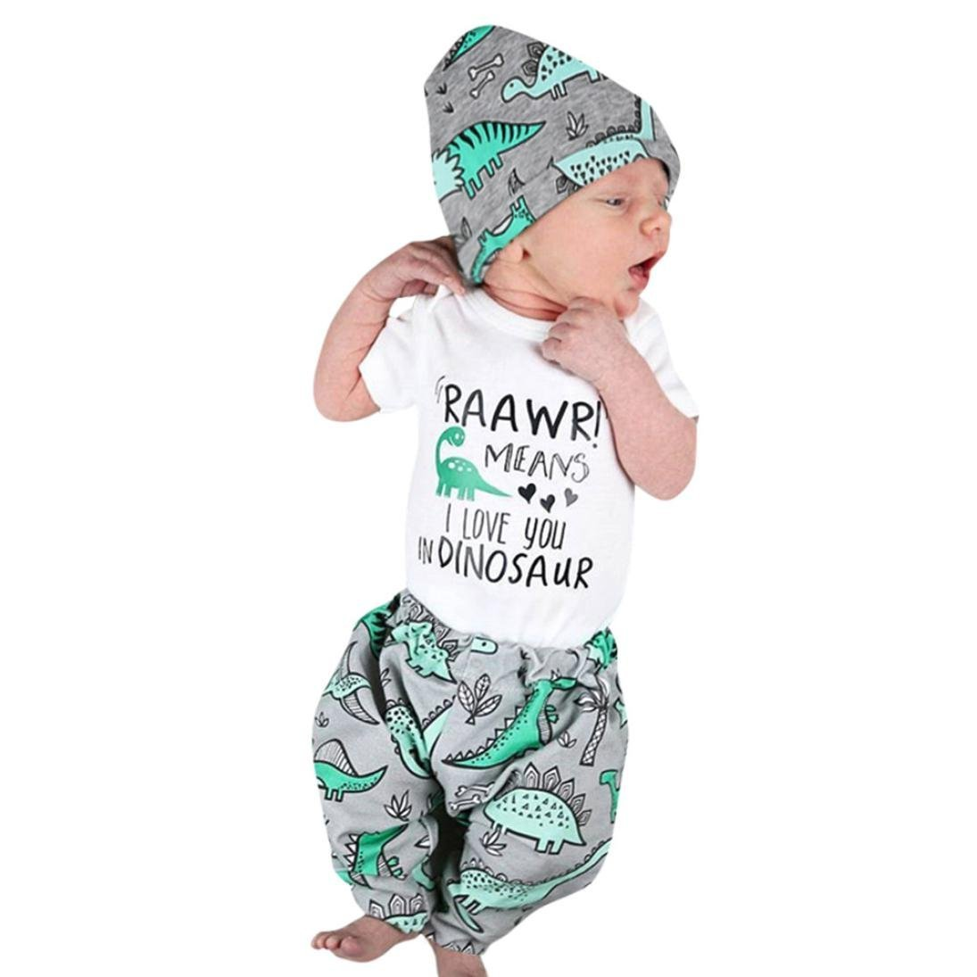 Newborn Infant Baby Boy Girl 3Pcs Outfits Set, Cartoon Dinosaur Sleepwear Letter Print Romper Tops+ Pants Hat (White, 6-12 Months)