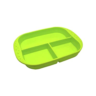Kinderville Silicone Divided Plate Green 100% Food-Grade Silicone - Designed in California : Baby