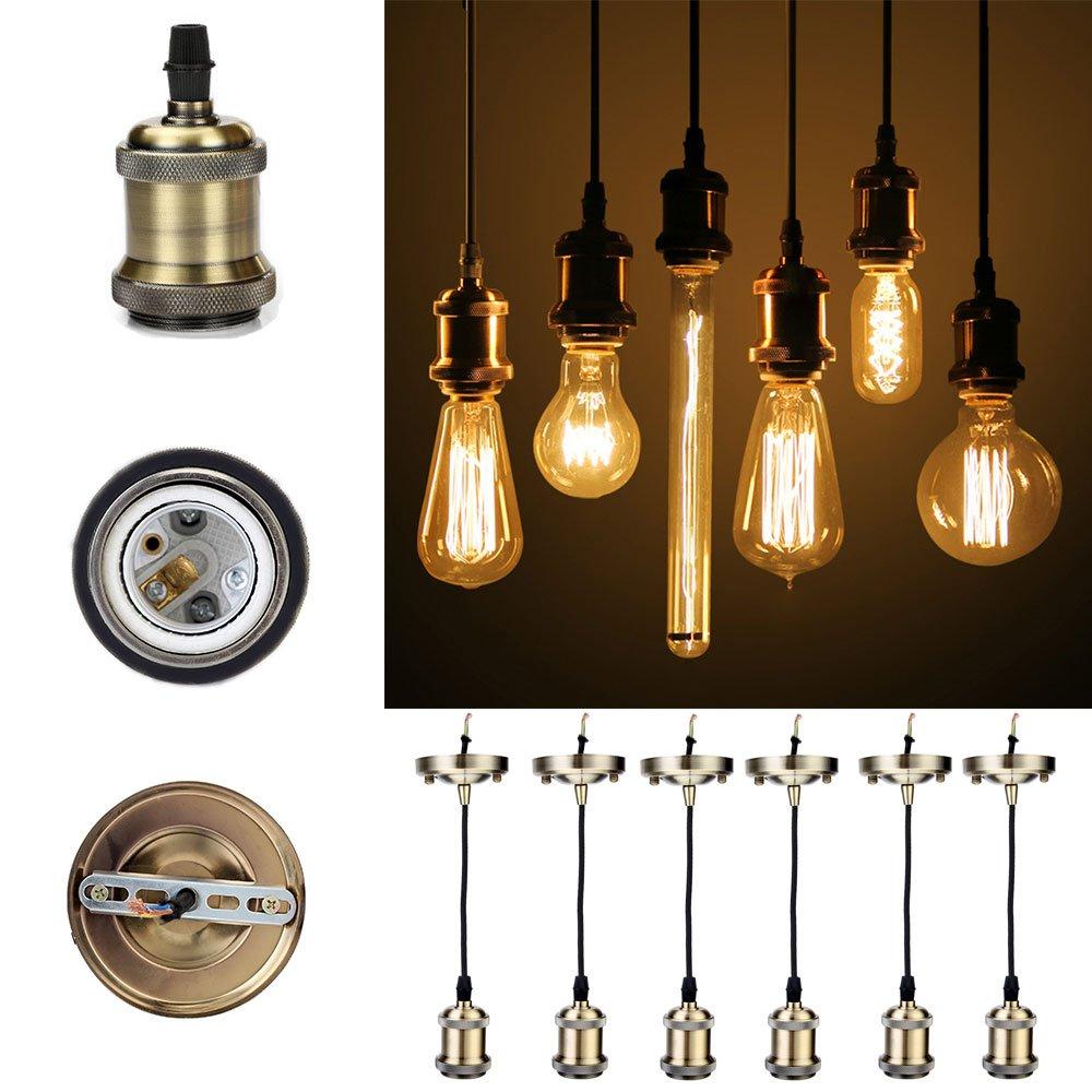 GreenSun Vintage Edison E27 Lampenfassung Antike Sockel Lampe Fassung Halter Zubehör mit 1.35 Meter 3-adriges Kabel Deckenfassung Lampenfuß für Pendelleuchte Hängelampe, 6 Stück, R5 [Energieklasse A] 6 Stück