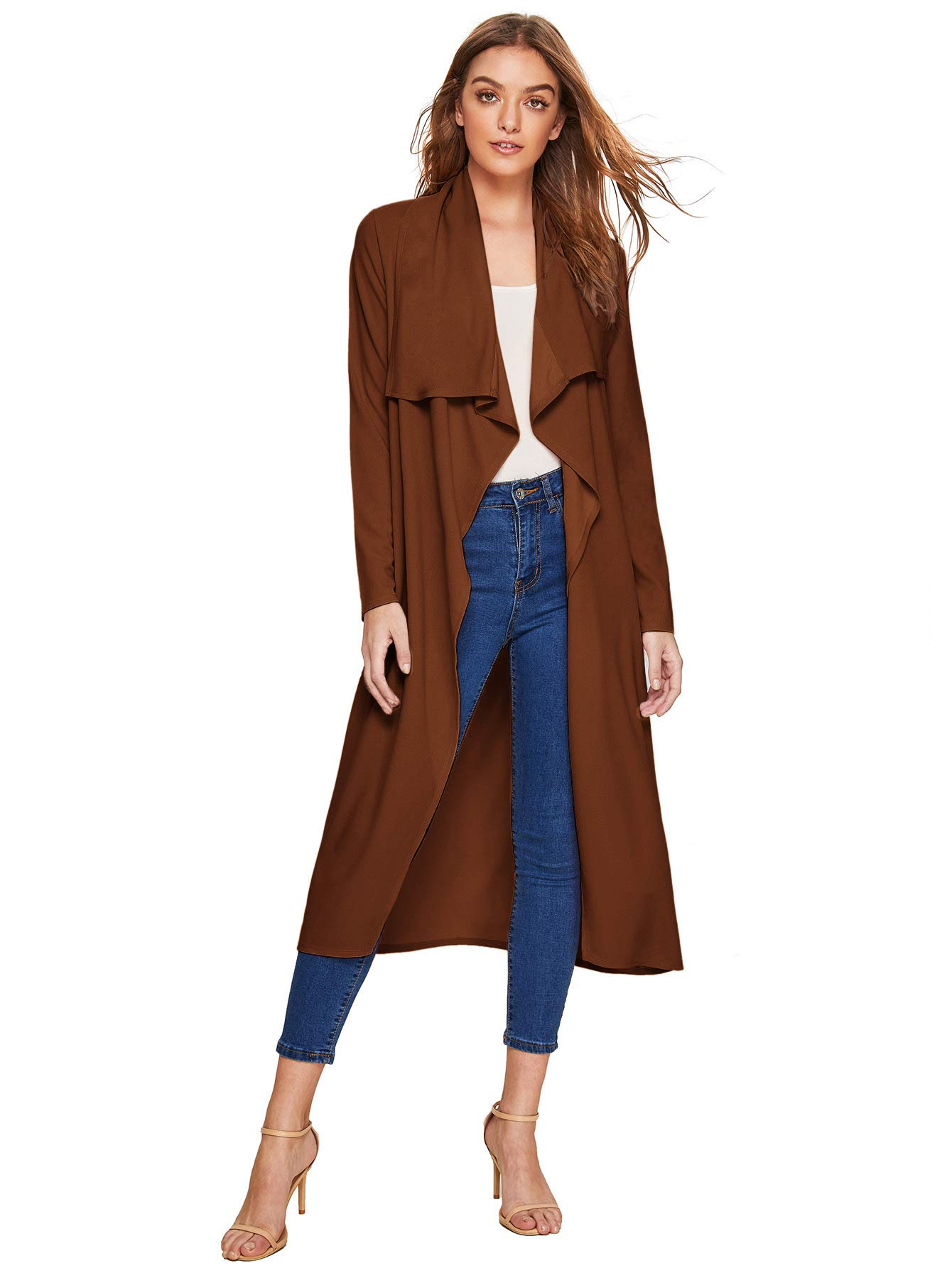 Verdusa Women's Casual Long Sleeve Lapel Outwear Duster Coat Cardigan Coffee Thick XL by Verdusa