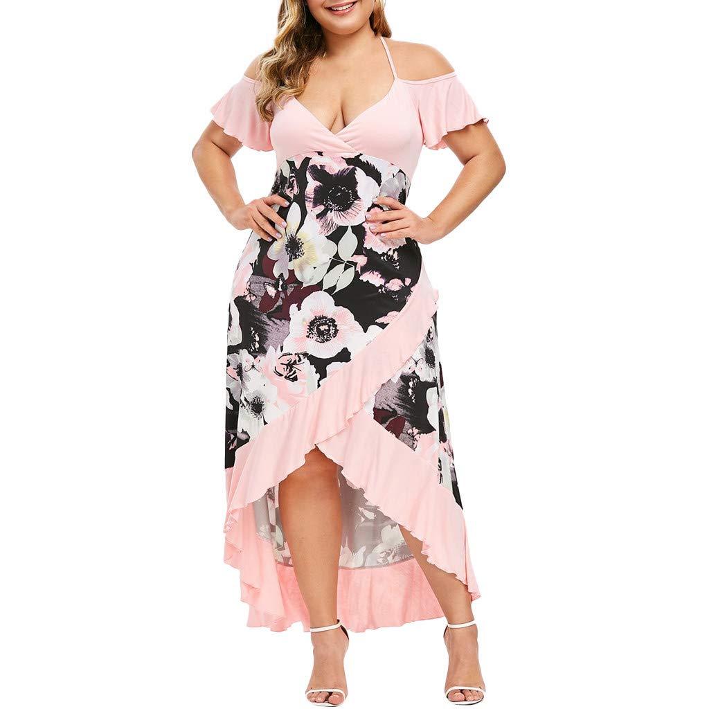 LOMONER Dress for Women American Trends Plus Size V-Neck Camis Short Sleeve Cold Shoulder Dress by LOMONER