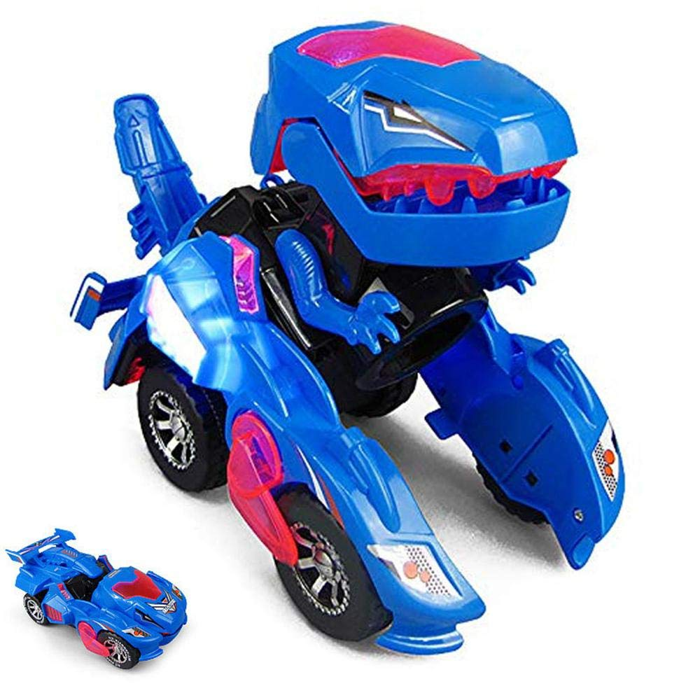Transforming Dinosaur Car,Womdee Deformation LED Car,Kids Dinosaur Toys Play Vehicles with Light Flashing Music,Creative Xmas Toys Gift for Kids 3-12 Years Old,Automatic Transformation,Avoid Obstacles