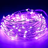 Kany 100 LED 33 ft String Lights Copper Wire LED Lights,Battery Operated Waterproof Starry String Lights, Decorative Rope Lights For Seasonal Christmas Holiday, Wedding, Parties Purpl