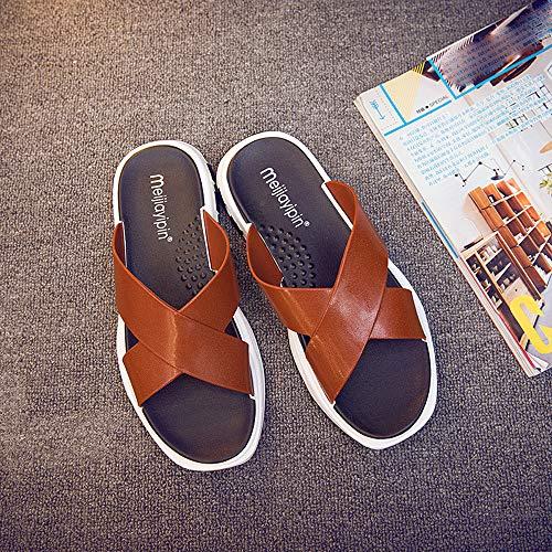 De Chanclas Sapatenis ALIKEEY De Moda Sapatos Playa Verano Casual Zapatilla Hembre Zapatos Hombres Marrón 550pY7