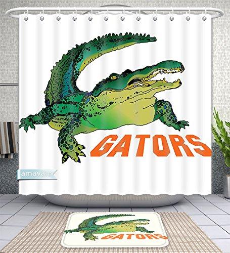 Unique Custom Bathroom 2-Piece Set Reptile Decor Grumpy Alligator Has A Word Gator Crocodile Humor Wild Life Safari Aquatic Print Green Oran Shower Curtains And Bath Mats Set, 66