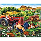 Bits and Pieces - 1000 Piece Jigsaw Puzzle - On the Farm - Rooster and Tractor Puzzle - by Artist Lee Radcliffe - 1000 pc Jigsaw