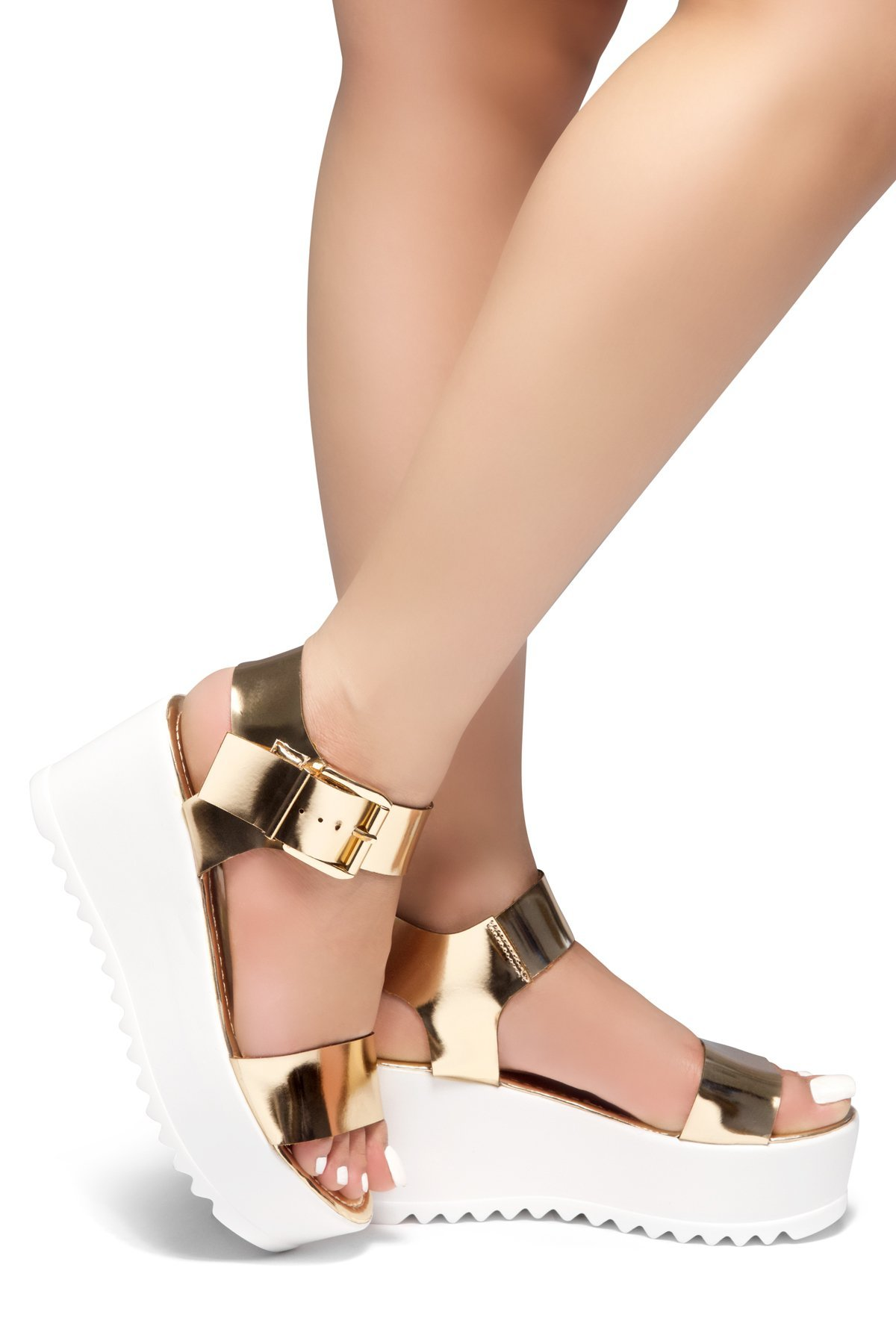 Herstyle Womens's Carita-Open Toe Ankle Strap Platform Wedge Rose Gold10