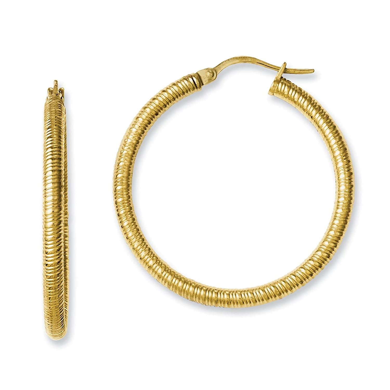 Stainless Steel Yellow IP-plated Polished /& Textured Round Hoop Earrings 3mm x 37mm