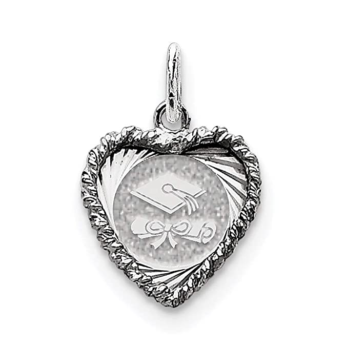 Sterling Silver Themed Jewelry Pendants /& Charms 15 mm 23 mm Graduation Cap Diploma Polished Disc Cha