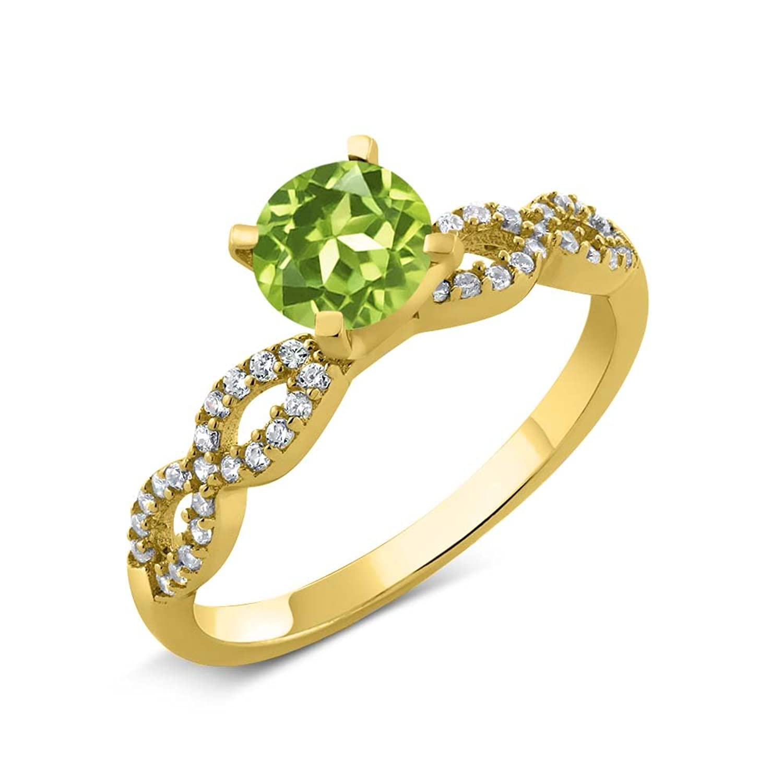 1.35 Ct Round Green Peridot 14K Yellow Gold Engagement Ring