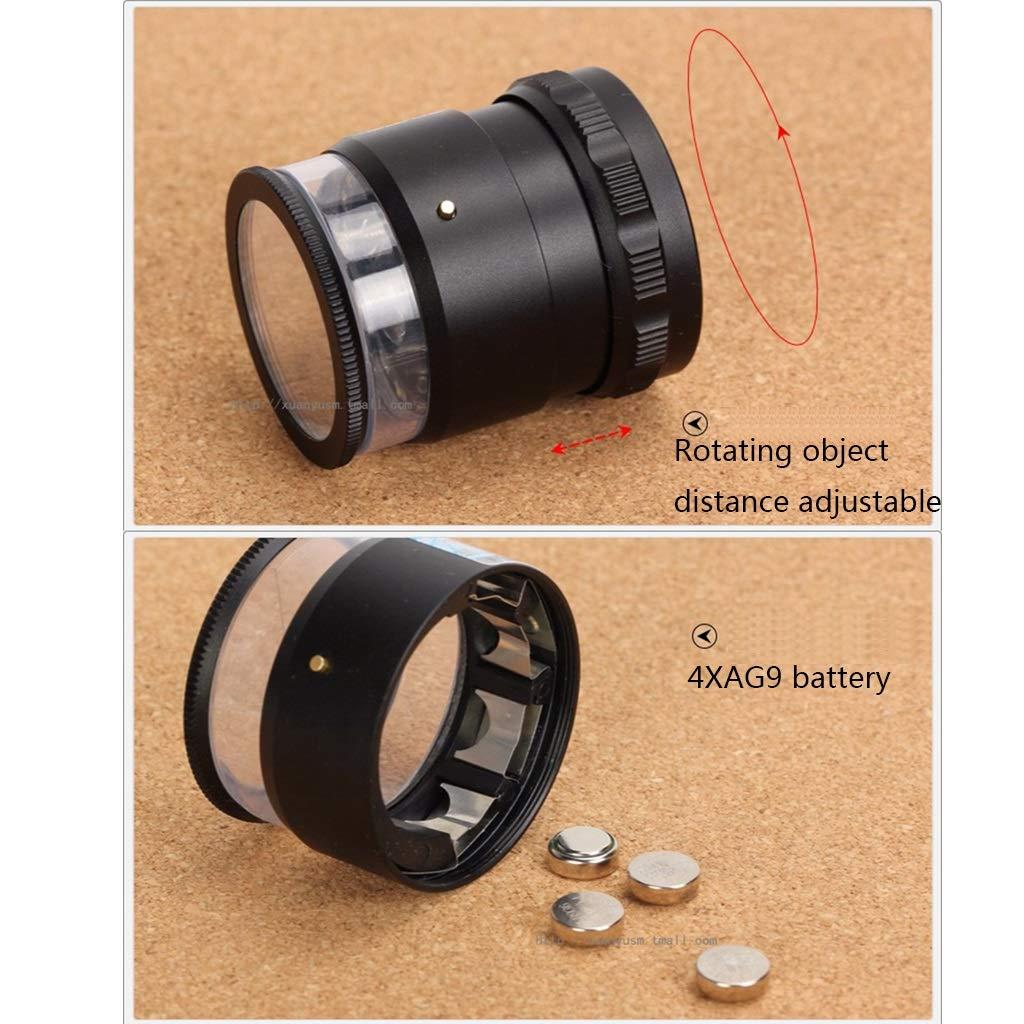 lente di ingrandimento palmare francoboll Lente di ingrandimento 10 cilindri con scala di misura rimovibile obiettivo obiettivo regolabile monete 8 LED gioielli lente di ingrandimento per gemme