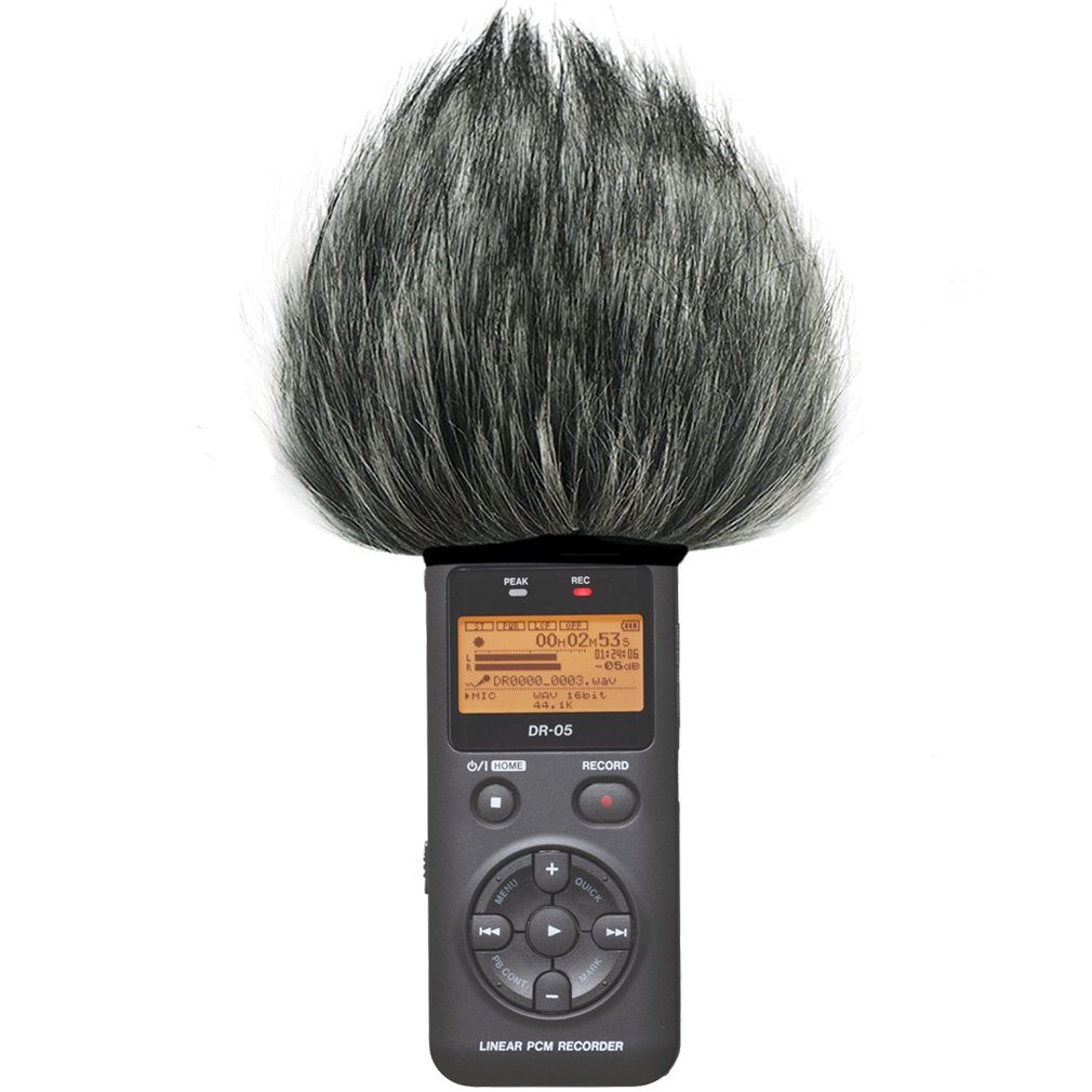 First2savvv TM-DR-05-C01 Outdoor Portable Digital Recorders Furry Microphone Mic Windscreen Wind Muff for Tascam DR-05 . DR05