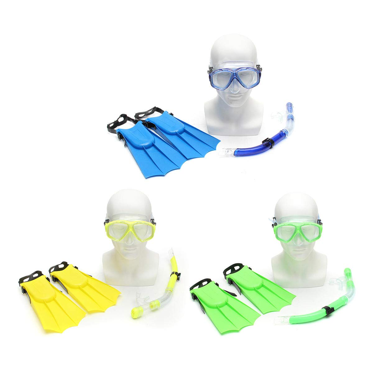 Shop Sport Kid Snorkel Mask Scuba Goggles + Breathing Tube+ Webbed Feet Swimming Diving Set - Yellow by Shop Sport (Image #4)