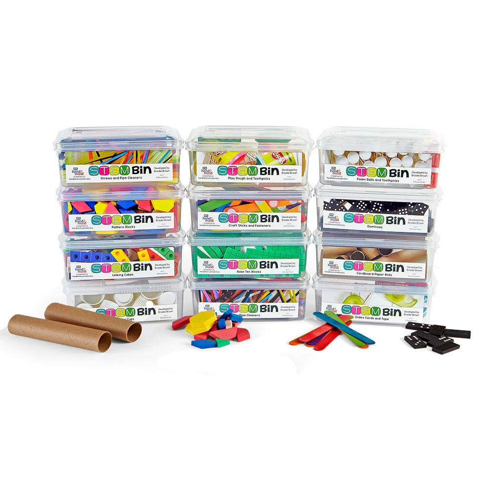 hand2mind STEM Bins Kit by Brooke Brown for Kids (Set of 12) - 18 Different Manipulatives, 8 Challenge Yourself Cards, 8 Writing Prompt Cards, and Teacher Guide by hand2mind