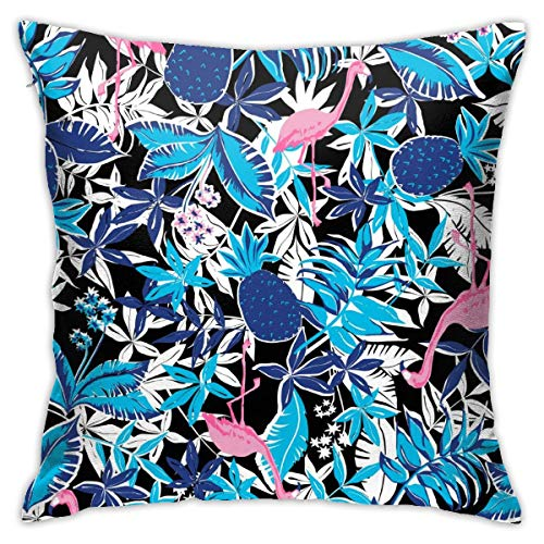 (Eratdatd Customized Summer Rainforest Plant Pineapple Flamingo 45 X 45 cm Pillow Cover, Sofa Bed Pillow Durable, Machine Wash Pillow Cover)