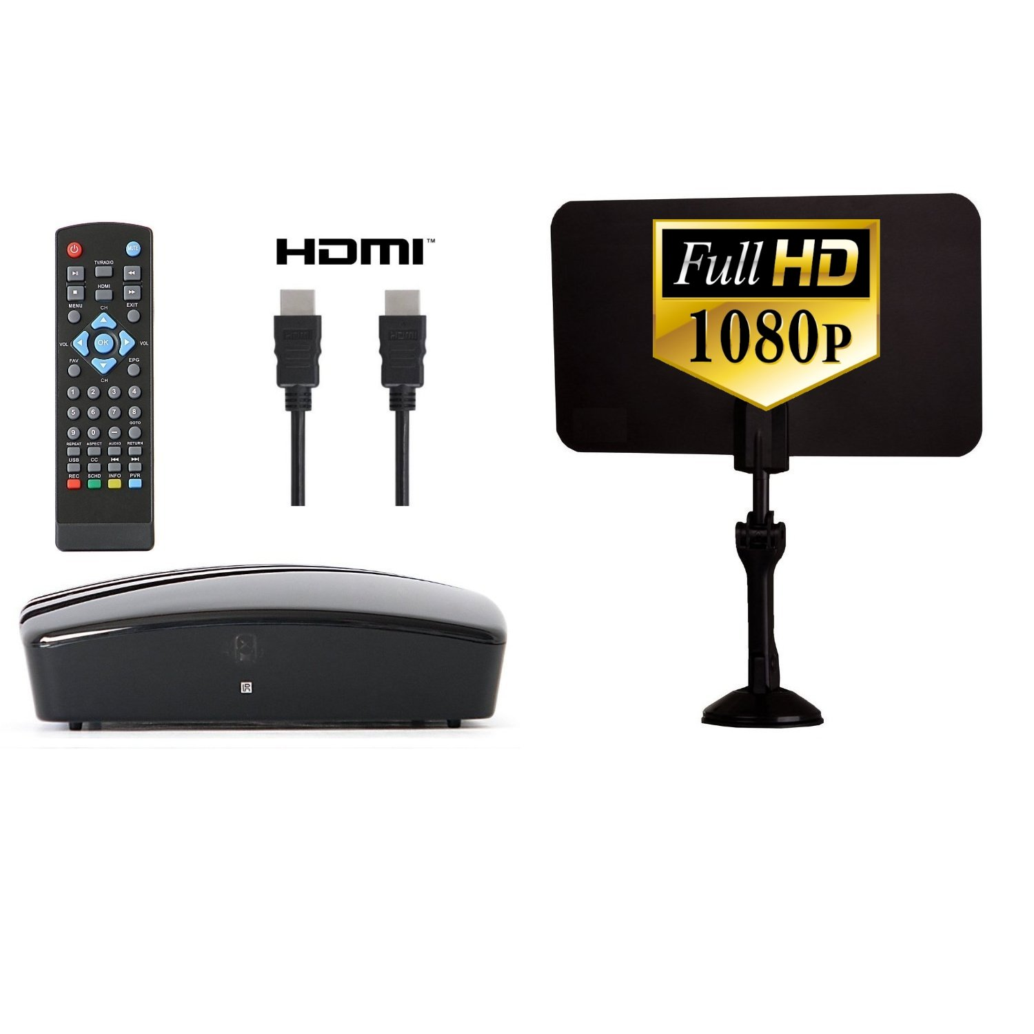 Digital Converter Box + Digital Antenna + HDMI and RCA Cable - Complete Bundle to View and Record HD Channels For FREE (Instant or Scheduled Recording, 1080P HDTV, HDMI Output And 7 Day Program Guide) by eXuby