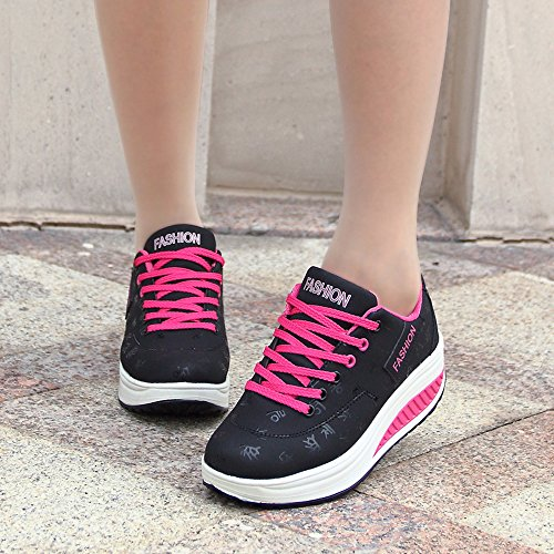 Black Athletic Comfort Fitness Up Sneakers Womens Fashion Toning Lace Shape Shoes Up EnllerviiD 7FARxTRn