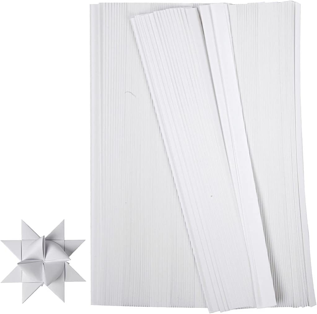 500 pz Origami colore: Bianco Strisce di carta per decorazioni larghezza 10 mm