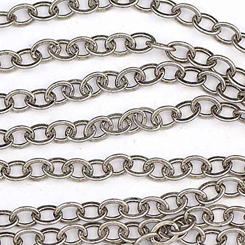 Chainologie Antique Silver-Plated Chain _#77: 3.5 x 2.25 mm Small Flat Oval Cable Chain (Per 25-foot spool/hank)