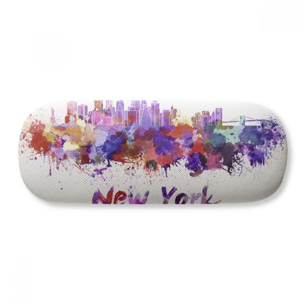 New York America City Watercolor Glasses Case Eyeglasses Clam Shell Holder Storage Box