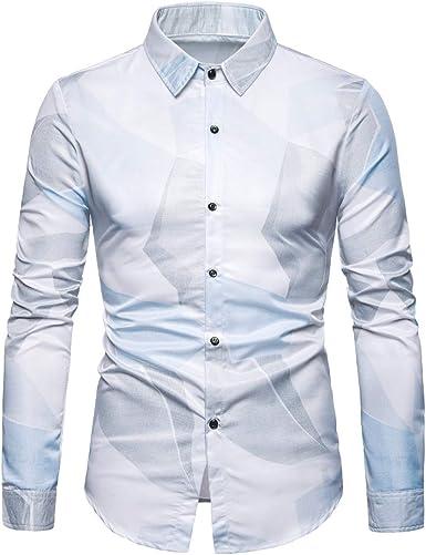 Sliktaa - Camisa clásica para hombre, estampada, elegante, Slim Fit Bals Boda Irregular de Manga Larga Impresión S-3XL: Amazon.es: Ropa y accesorios