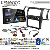 Volunteer Audio Kenwood DMX7704S Double Din Radio Install Kit with Apple CarPlay Android Auto Bluetooth Fits 2003-2004 Infiniti G35 (Charcoal) (Dual zone A/C controls)