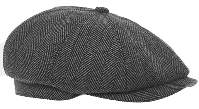 b465ce35eaab7 Mens Flat Cap Grey Herringbone Newsboy Bakerboy Style Gatsby Hat   Amazon.co.uk  Clothing