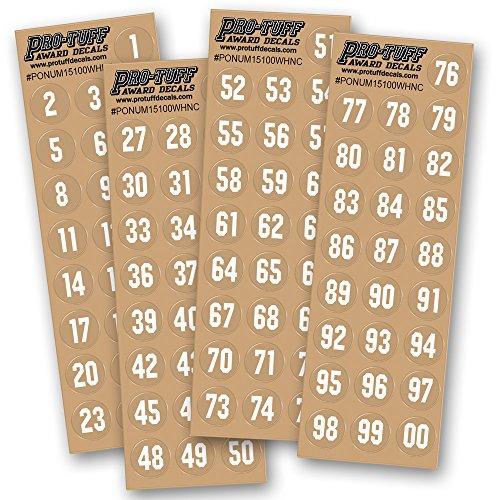 Helmet Hockey Stickers - Number Decals for Helmets (Football, Lacrosse, Baseball, Softball, Hockey) 100 Stickers (White)