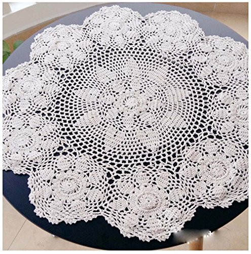 """WCHUANG Vintage Hand Crocheted Doilies Round Lace Tea Sofa Cover Placemats Beige CottonTablecloths (27.6"""", white)"""