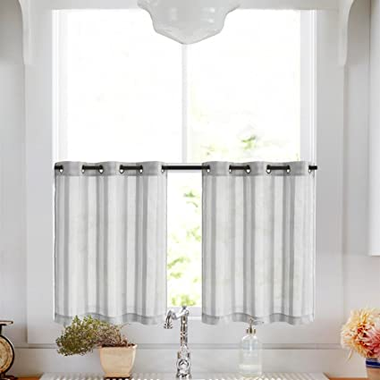 Superbe Tier Curtains For Kitchen 45 Inch Length Cafe Curtains Striped Sheer Tier  Window Curtain Set,