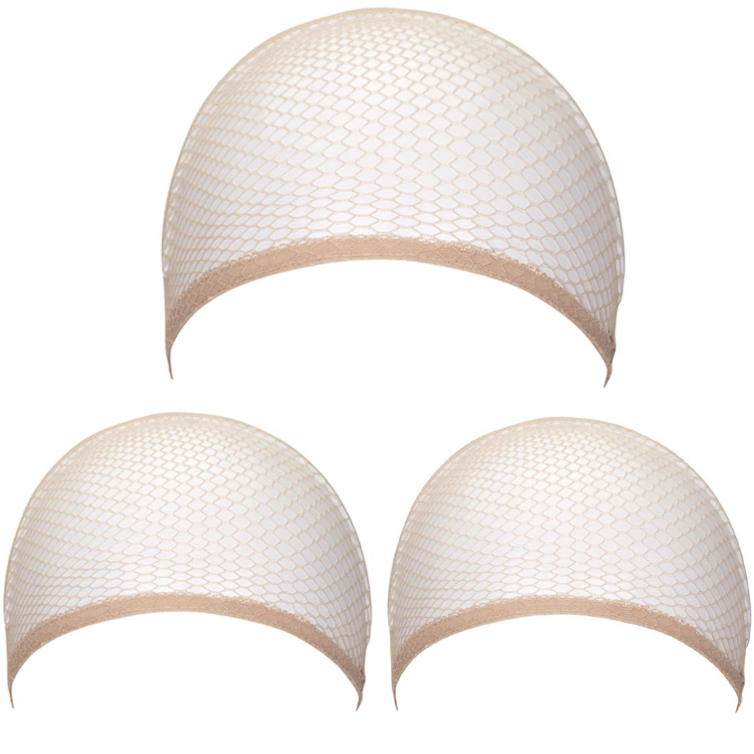 3 Pack Nylon Hair Net Wig Caps Stretchable Net Mesh Fishnet Elastic Snood Cap(Skin) by FOCUSSEXY (Image #1)