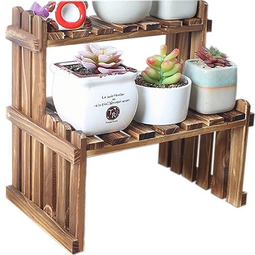 ZZ iluminación 2 Tier mesa madera macetas para plantas soporte ...