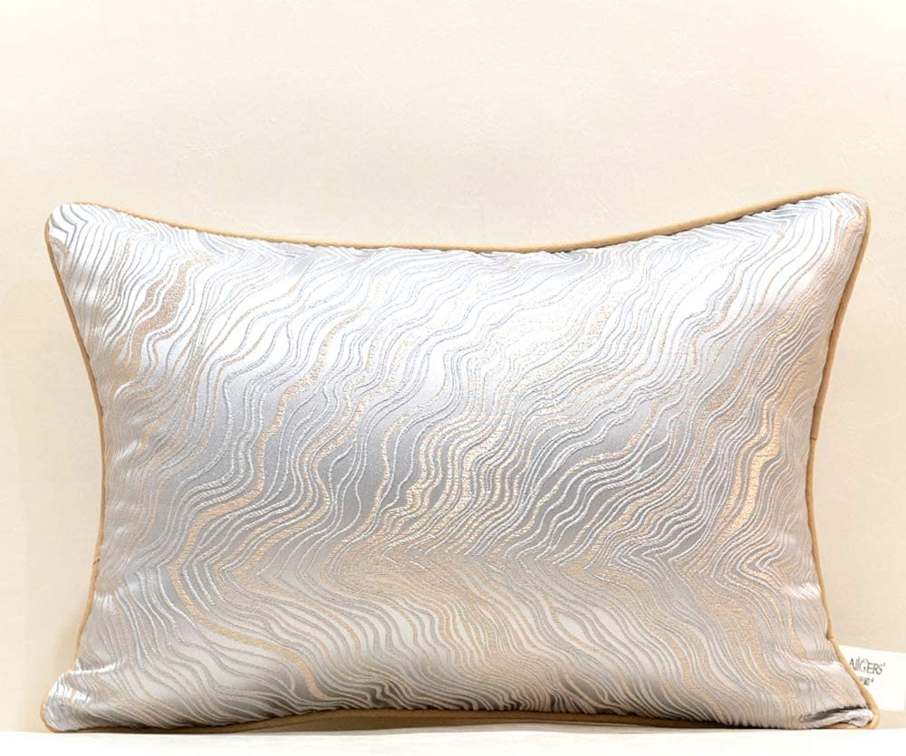 Avigers 12 x 20 Inch Rectangle Silver Gray Gold Abstract Striped Embroidery Cushion Case Luxury Modern Throw Pillow Cover Decorative Pillow for Couch Living Room Bedroom Car