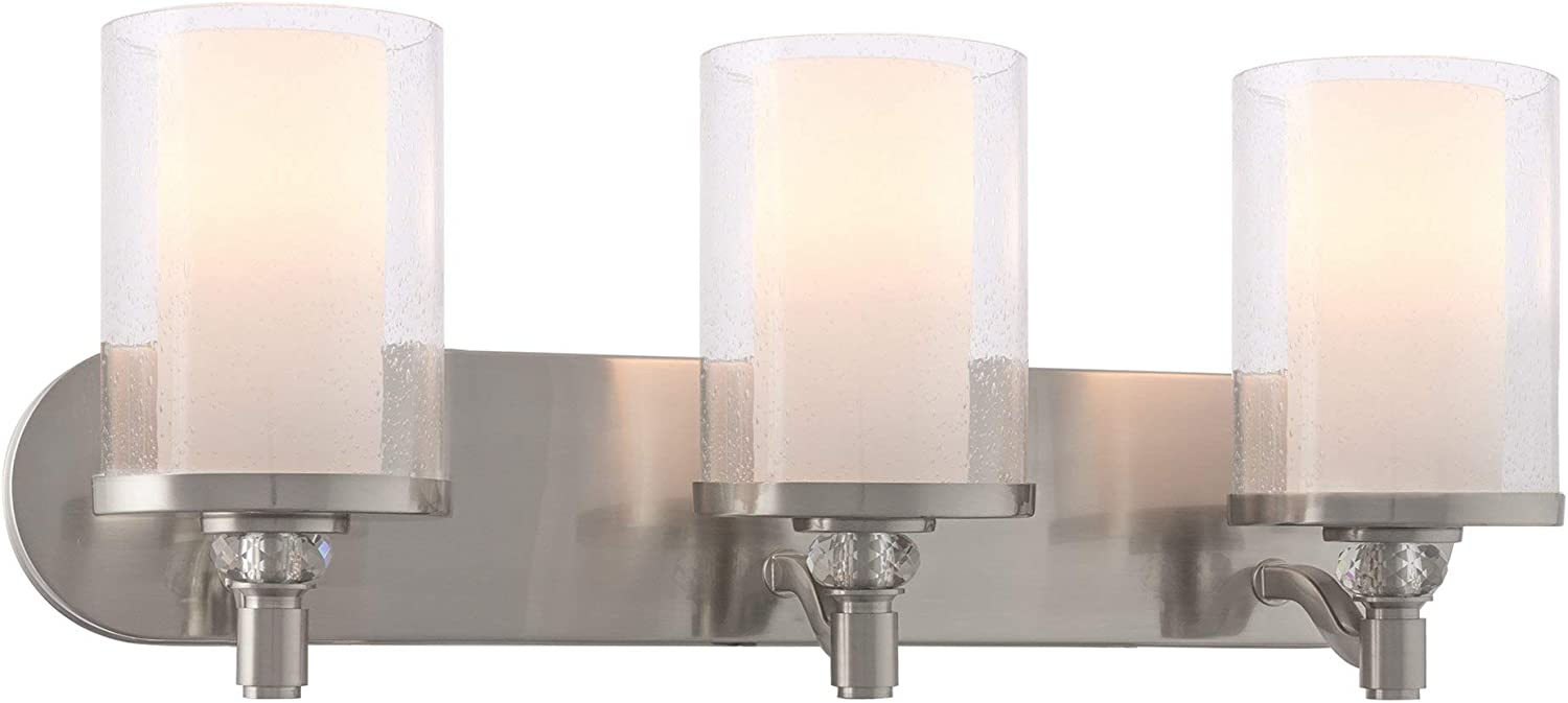 Kira Home Victoria 24 Contemporary 3-Light Vanity Bathroom Light, Frosted Seeded Dual Cylinder Glass Shades, Brushed Nickel Finish