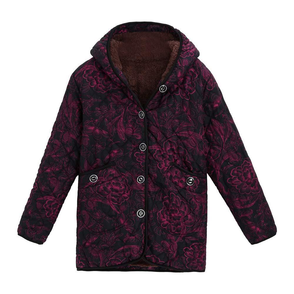 Caopixx Women Outwear Winter Jacket Warm Vintage Floral Print Hooded Pockets Oversize Coats Overcoat Soft