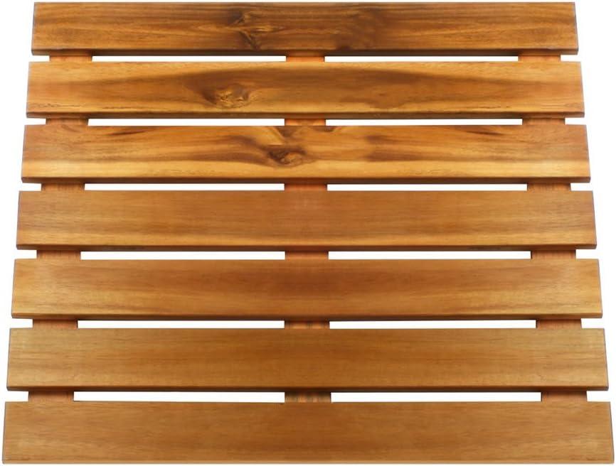 Thirteen Chefs Villa Acacia Wood Shower and Bathroom Mat 24 x 17 Inch for Baths Saunas and Pools