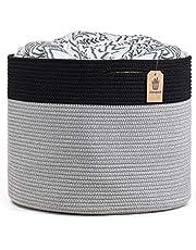 INDRESSME Cotton Rope Basket - Woven Stoage Basket for Laundry Blanket Basket for Living Room Wicker Basket for Pillows Towels Large Plant Basket Toy Basket in Baby Nursery