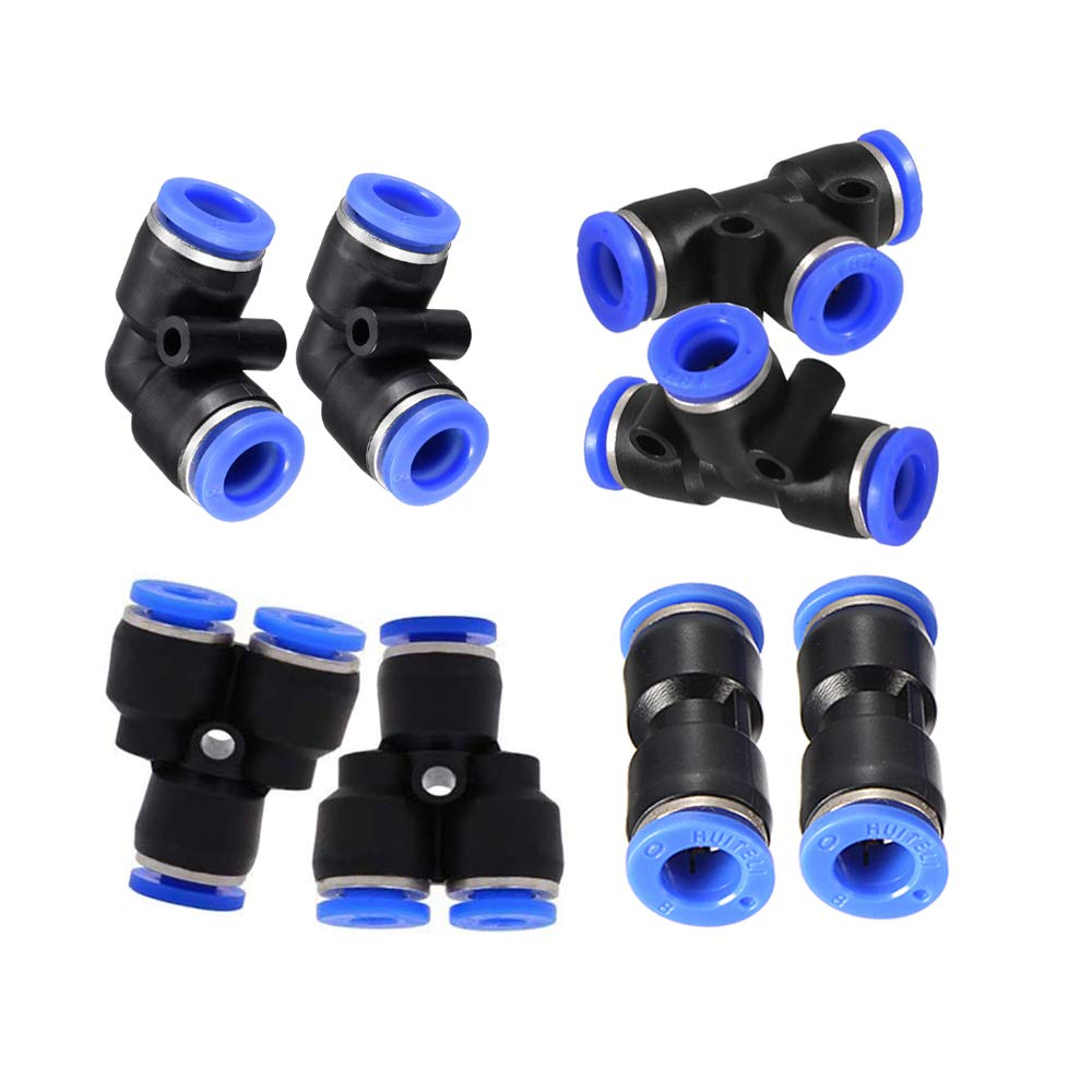 JJDD Air Tool Fittings,4mm Pneumatic Connectors kit 2 Elbows+2 tee+2 Straight+2 Spliters Quick Connect Fittings Plastic Push to Connect Fittings Combo kit-8pcs