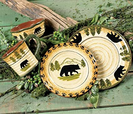 Black Bear Forest Dinnerware Set - 16 pcs - Cabin Dining Decor & Amazon.com | Black Bear Forest Dinnerware Set - 16 pcs - Cabin ...